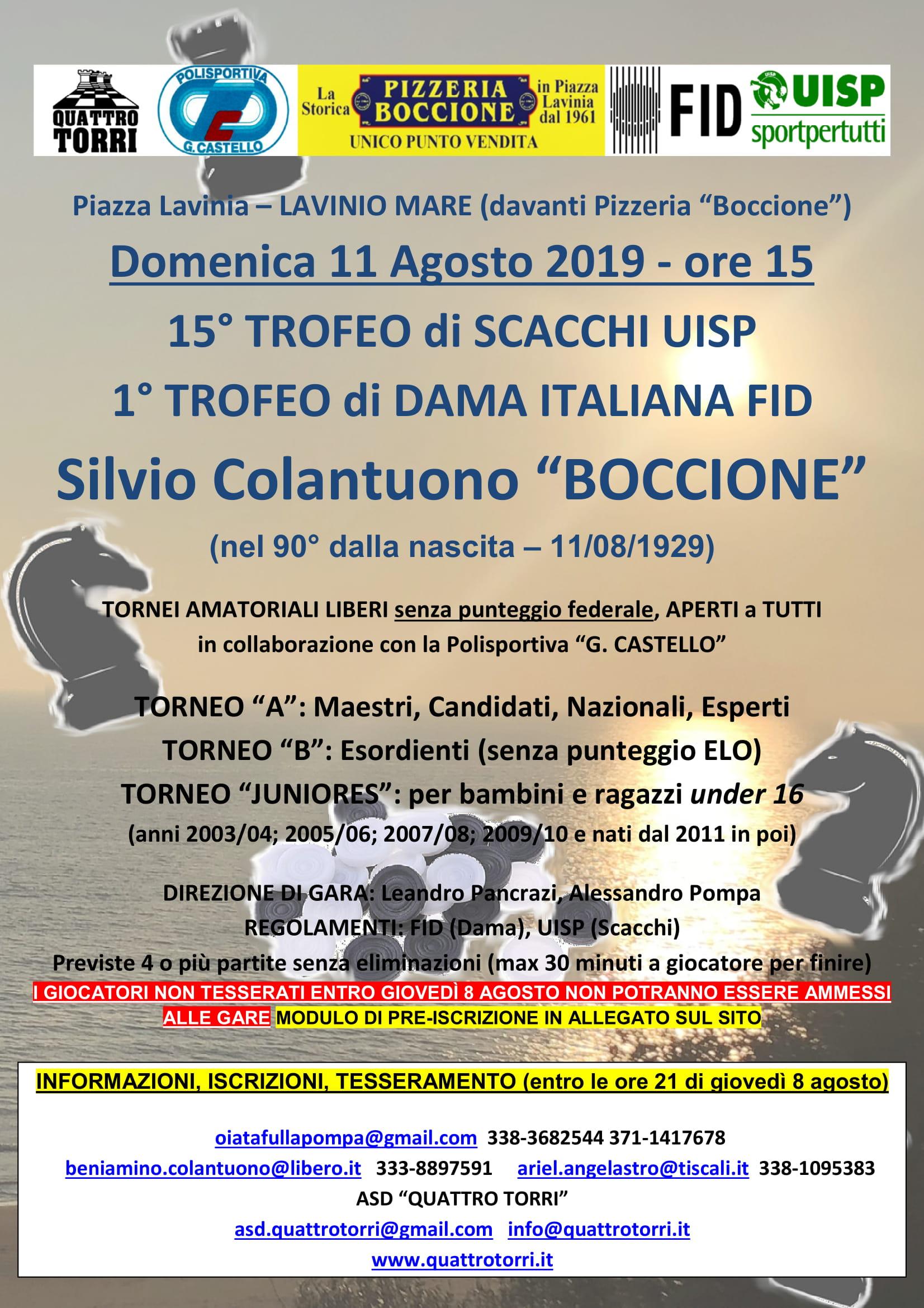 Calendario Tornei Scacchi.Asd Quattro Torri Pol G Castello Tornei